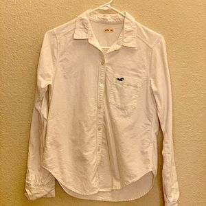 Women's White Long Sleeve Button Shirt